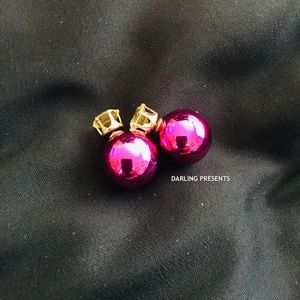 PINK CRYSTAL DOUBLE SIDED EARRINGS